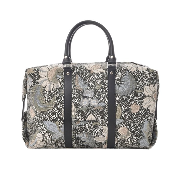 Boston Bag Black Flower Linen
