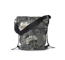 Black Flower Linen Shoulder Bag