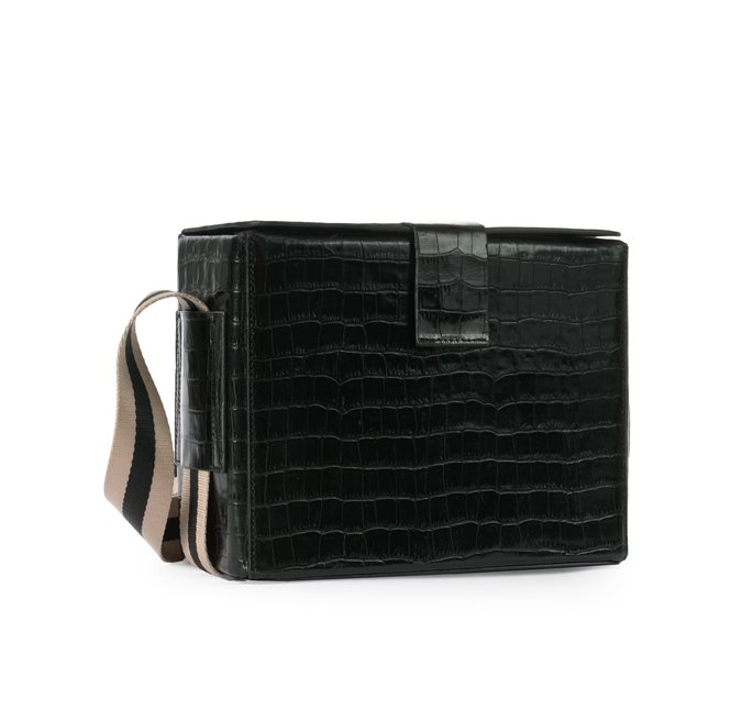 Croco Leather Black Box Bag