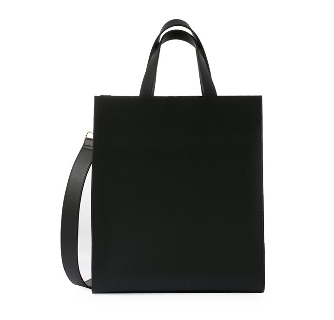 Recycled Leather Black City Bag