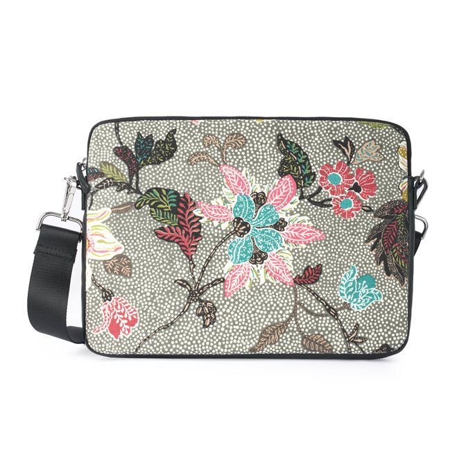 Computer Case Grey Flower Linen