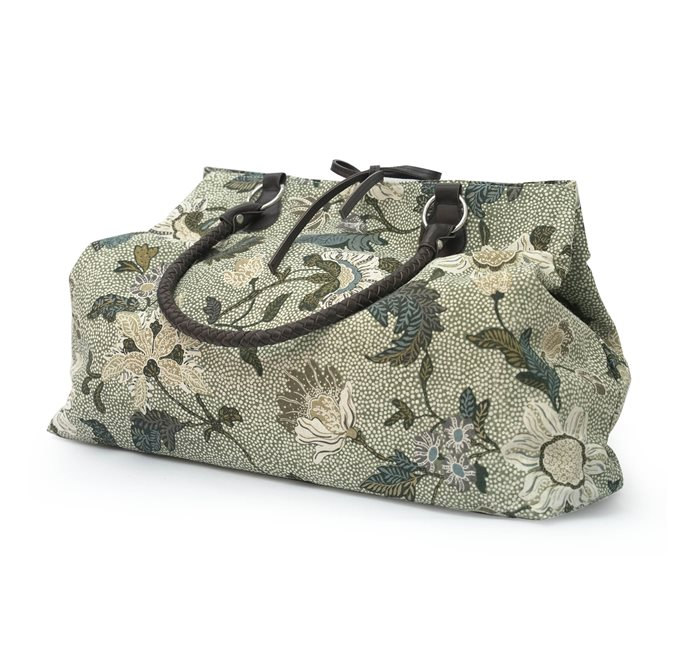 Weekend Bag Soft Green Flower Linen
